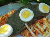 Salade choux rave, chinois, carottes râpées tartine pistou d'ortie, avocat piment d'Espelette