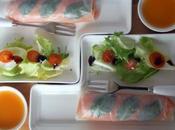 Rouleaux printemps, truite fumée asperges vinaigrette mangue