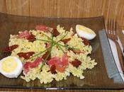 Salade pâtes, jambon italien, oeufs durs tomates sechees