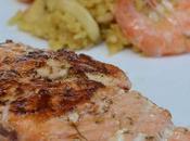 Pavé saumon mariné plancha façon paella