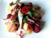 Salade hareng pomme terre, vinaigrette coriandre framboise