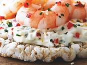 Galettes crème végétale, crevettes poivrons rouges
