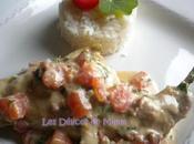 Cuisses lapin, sauce crémeuse tomates fondantes herbes jardin