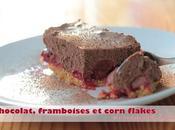 Dessert chocolat, framboises corn flakes sans gluten, lait