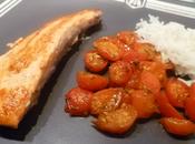 Pavé saumon tomates cerises caramélisées miel