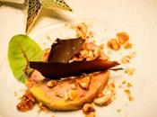 Foie gras, caramel salé noisettes pétales chocolat