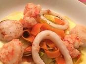 Saint-Jacques, crevettes calamar grillés, sauce parmesan fondue légumes