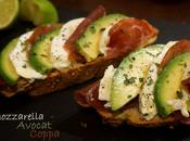 Tartine gourmande avocat, coppa mozzarella