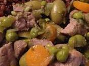 Tajine petits pois, olives citron confit