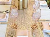 Décorations table pailletées rose dorées