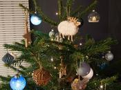 sapin Noël bleu/blanc/bois