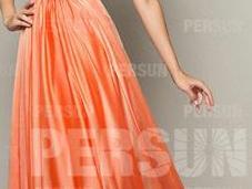 Robe orange demoiselle d'honneur accrocheur pour hiver