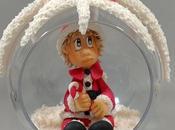 """modelage """"Boule Noël avec bébé"""" porcelaine froide"""