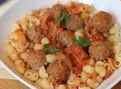 Pâtes mode tunisienne: boulettes boeuf fenouil sauce tomate