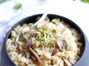 Risotto crémeux champignons bouillon légumes