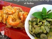 Salade fèves crevettes oignons herbes