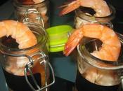 verrines apéritives: crevettes, mandarines, citron vert gingembre frais