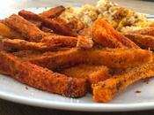 Frites patates douces four croustillantes l'extérieur, moelleuses l'intérieur.
