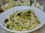 spring pasta courgettes, champignons, petits pois