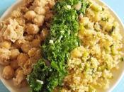 Pois chiches, Boulgour chou Kale pour recette originale (Vegan)