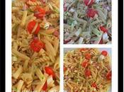 Salade pâtes, tomates cerise, mozza, courgettes