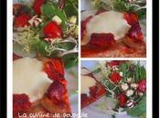 Tartines grillé d'aubergine, chorizo, tomates, mozza