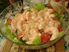 petite salade fraiche crevettes, fabuleuse sauce agrumes