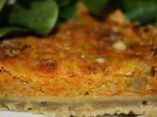 Tarte topinambours, carotte courge, pâte farine bise, curcuma graines lin.
