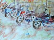 Aquarelle, rassemblement motos, Grand'Place Lille