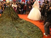Robe mariée plumes paon