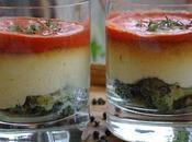 Verrine brocoli, mousse chou-fleur, crème poivron