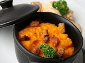 Purée carottes l'orange croûtons pain d'épices