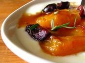 Poêlée d'abricots vinaigre gingembre confit, petit fromage blanc onctueux
