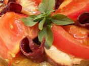 Tarte fine tomate, magret pélardon