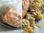 Saumon compotée poireaux-soja