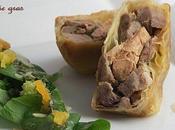 Pastilla tête veau-foie gras, salade coriandre huile d'argan