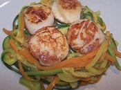 Saint-jacques poêlées spagettis légumes.