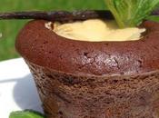 Moelleux chocolat noir-menthe, coeur coulant vanille-menthe