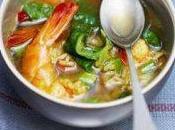 Soupe gambas,riz curry