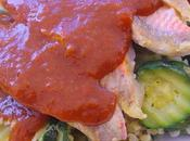 Papillote filet rouget courgette sauce poivrons