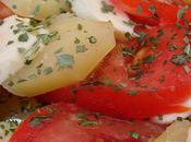 Salade pommes terre, tomates mozzarella Potatoes, tomatoes salad