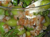 Salade mentholée petits pois croquants, chèvre