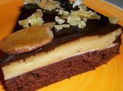 Gâteau white brown moelleux aérien lait ribot, sirop caramel, sous couche cheese-cake citronné gingembre confit, fourrage crémeux glaçage chocolat noir.