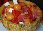 Salade melon, feta jambon Bayonne