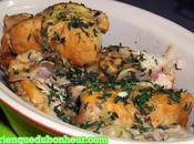 Lapin mijoté oignons blancs verts, fenouil, l'ail herbes jardin