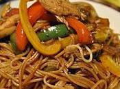 Spaghetti poulet légumes, sauce soya miel