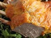 Carré d'agneau croûte cheddar thym pommes terre topinambours four
