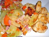 Poulet doré garniture chou blanc, carottes lardons