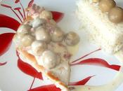 Escalope poulet lardons champignons