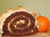Bûche meringuée chocolat crème clémentine (sans gluten sans beurre)